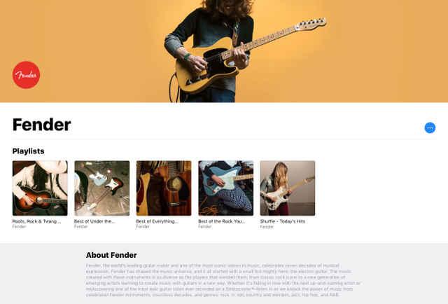 FenderがApple Musicにプレイリストを公開している