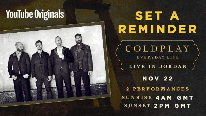 Coldplay、新アルバム「Everyday Life」発売ライブをYouTubeで生配信!
